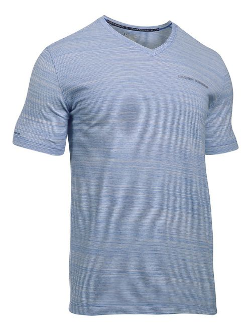 Mens Under Armour Charged Cotton V-Neck Tee Short Sleeve Technical Tops - Blue Marker L