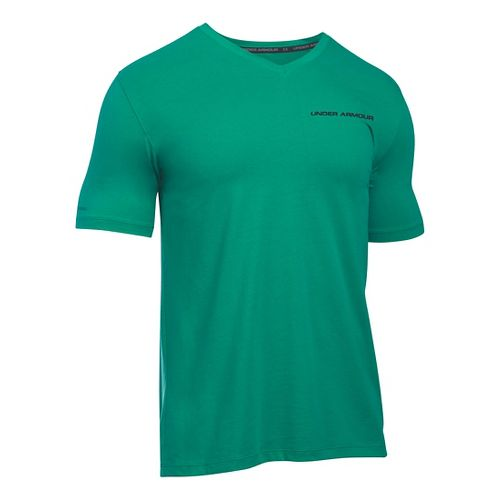 Mens Under Armour Charged Cotton V-Neck T Short Sleeve Technical Tops - Geode Green/Grey M ...