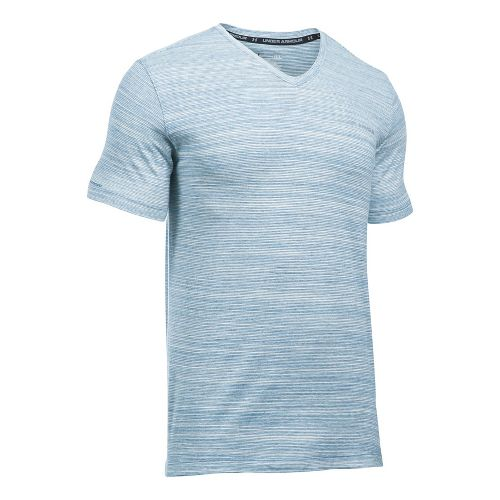 Mens Under Armour Charged Cotton V-Neck Tee Short Sleeve Technical Tops - Blackout Navy L ...