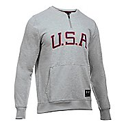 Mens Under Armour Clay 1/4 Zip Americana Crew Long Sleeve Technical Tops