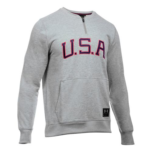 Mens Under Armour Clay 1/4 Zip Americana Crew Long Sleeve Technical Tops - Grey Heather/Red ...