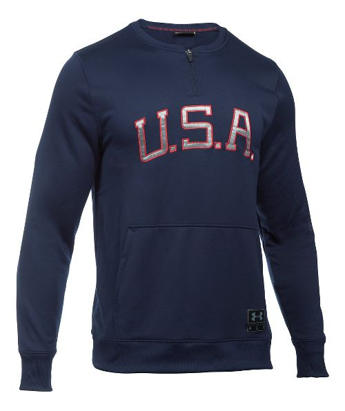 Mens Under Armour Clay 1/4 Zip Americana Crew Long Sleeve Technical Tops - Midnight Navy/White L