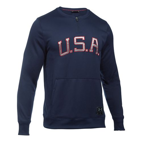 Mens Under Armour Clay 1/4 Zip Americana Crew Long Sleeve Technical Tops - Midnight Navy/White ...