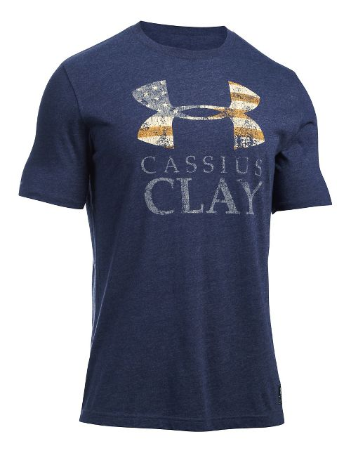 Mens Under Armour Clay SportStyle Triblend T Short Sleeve Technical Tops - Midnight Navy/Gold M
