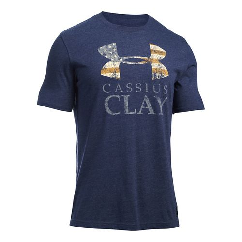 Mens Under Armour Clay SportStyle Triblend T Short Sleeve Technical Tops - Midnight Navy/Gold L ...