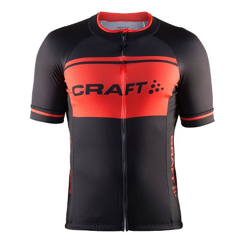 Mens Craft Classic Logo Jersey Short Sleeve Technical Tops - Black/Heat L