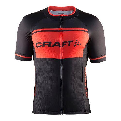 Mens Craft Classic Logo Jersey Short Sleeve Technical Tops - Black/Heat M