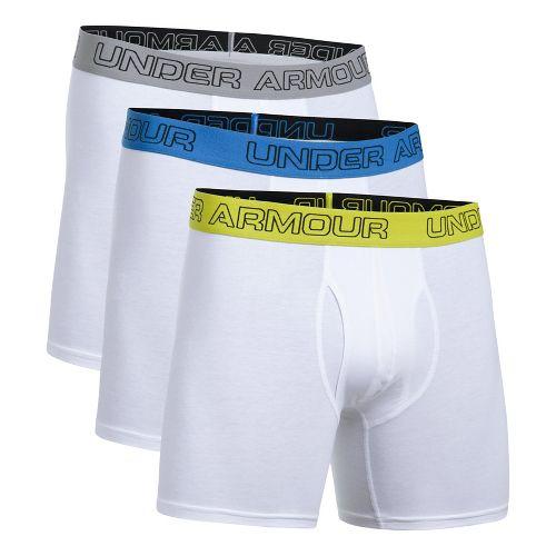 Mens Under Armour Cotton Stretch 6'' 3 Pack Boxer Brief Underwear Bottoms - White S ...