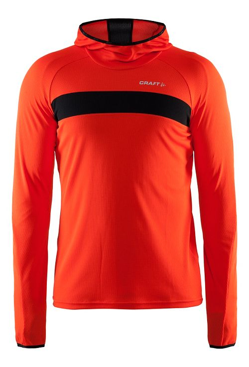 Mens Craft Escape Jersey Long Sleeve Technical Tops - Heat/Black L