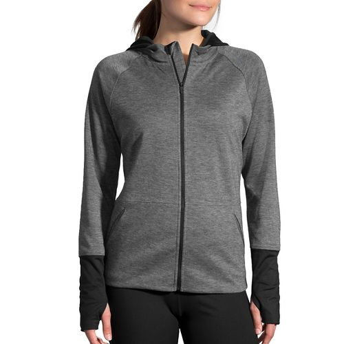Womens Brooks Joyride Hoodie & Sweatshirts Technical Tops - Heather Black S