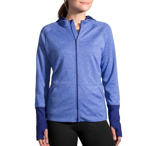 Womens Brooks Joyride Hoodie & Sweatshirts Technical Tops - Heather Marine XXL