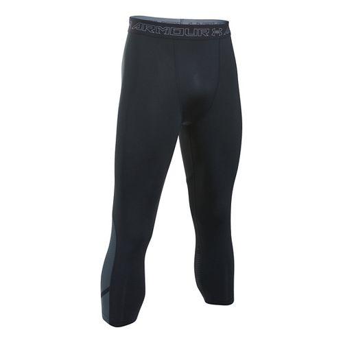 Mens Under Armour HeatGear Supervent Tights & Leggings Pants - Black/Stealth Grey XXL