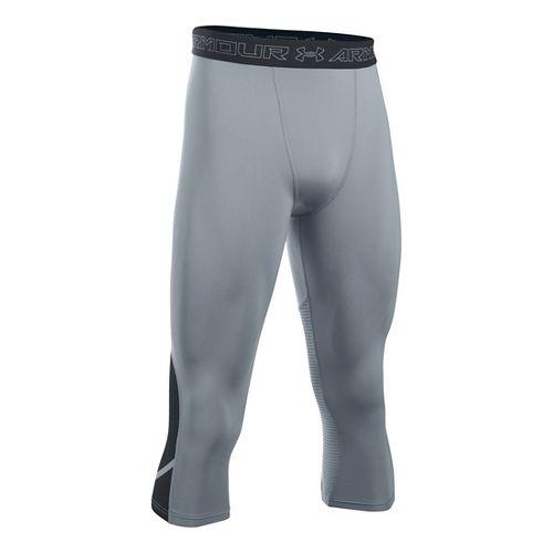 Mens Under Armour HeatGear Supervent Tights & Leggings Pants - Steel/Black XL