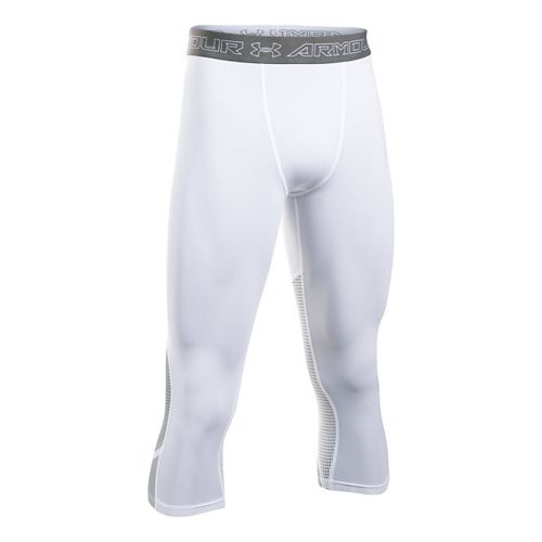 Mens Under Armour HeatGear Supervent Tights & Leggings Pants - White/Overcast Grey XXL