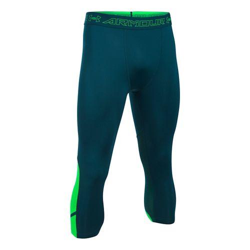 Mens Under Armour HeatGear Supervent Tights & Leggings Pants - Nova Teal/Green M