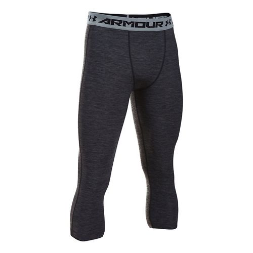 Mens Under Armour HeatGear Twist 3/4 Tights & Leggings Pants - Black/Steel LT