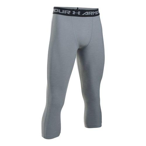 Mens Under Armour HeatGear Twist 3/4 Tights & Leggings Pants - Steel/Black MR
