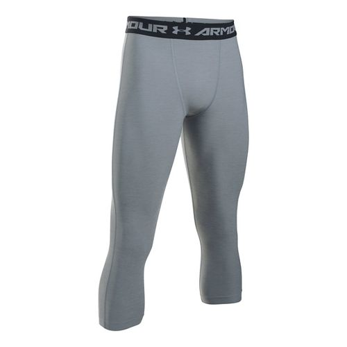 Mens Under Armour HeatGear Twist 3/4 Tights & Leggings Pants - Steel/Black XXLT