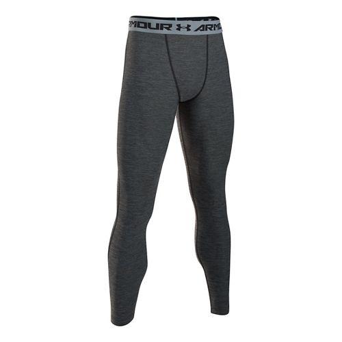 Mens Under Armour HeatGear Twist Compression Tights & Leggings Pants - Black/Steel MR