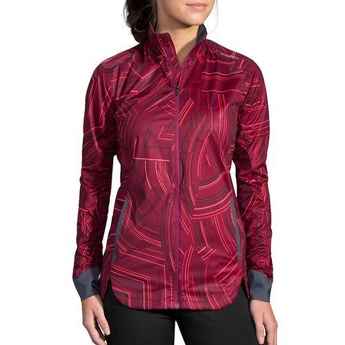 Womens Brooks Drift Shell Rain Jackets - Sangria Cosmo XS