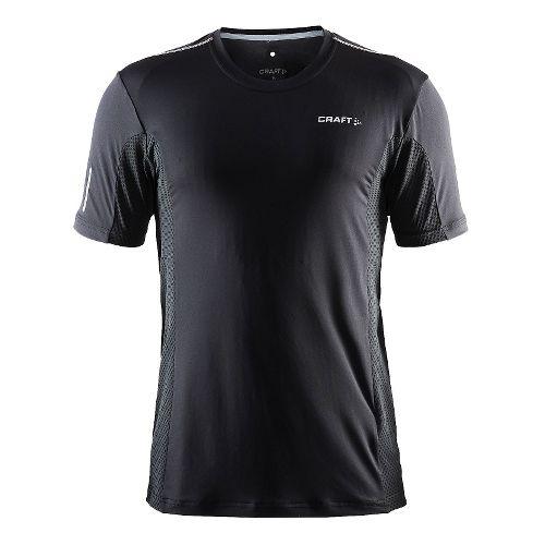 Mens Craft Focus Mesh Tee Short Sleeve Technical Tops - Black/Platinum L