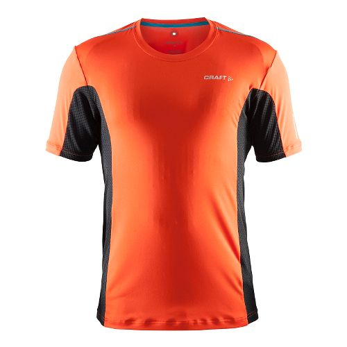 Mens Craft Focus Mesh Tee Short Sleeve Technical Tops - Heat/Black/Gale XL