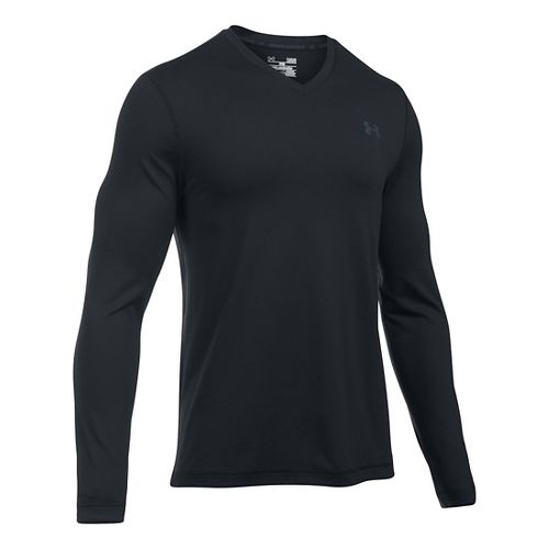 Mens Under Armour Lounge V Neck Long Sleeve Technical Tops - Black/Stealth Grey XXL