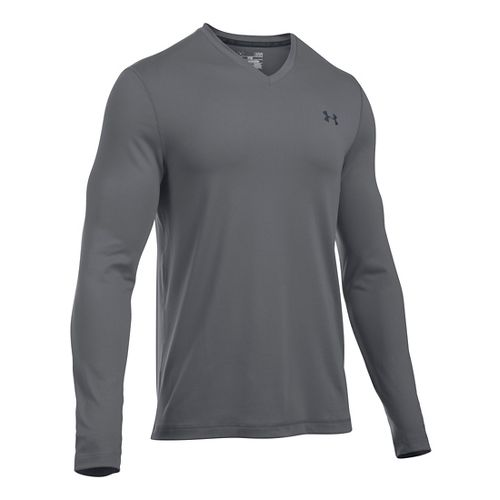 Mens Under Armour Lounge V Neck Long Sleeve Technical Tops - Graphite/Grey XL