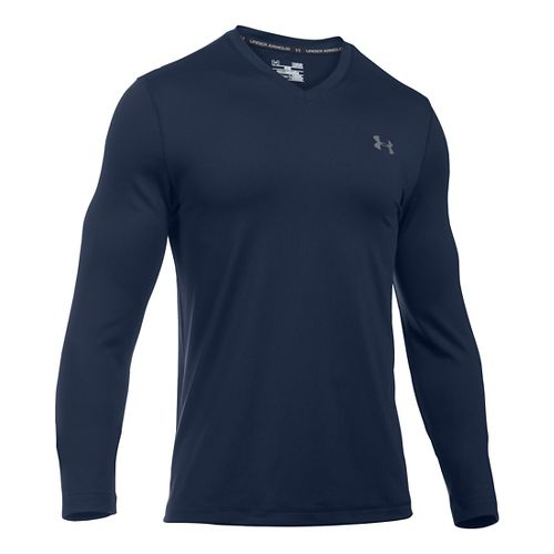 Mens Under Armour Lounge V Neck Long Sleeve Technical Tops - Navy/Graphite L