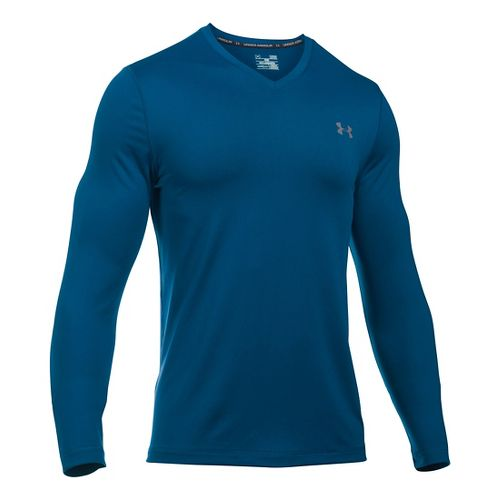 Mens Under Armour Lounge V Neck Long Sleeve Technical Tops - Heron/Graphite XXL