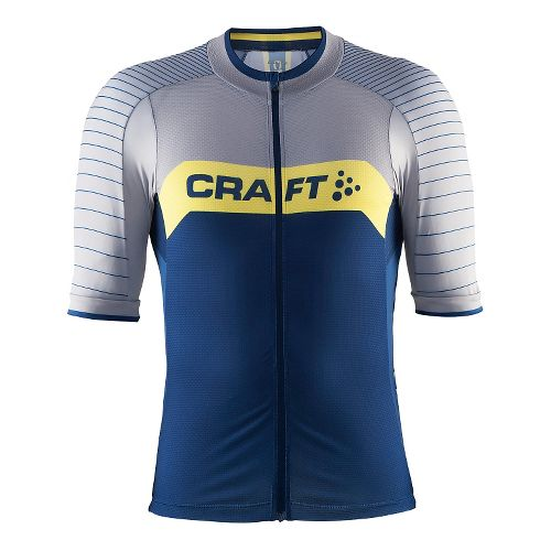 Mens Craft Gran Fondo Jersey Short Sleeve Technical Tops - Deep/Grey/Vega L