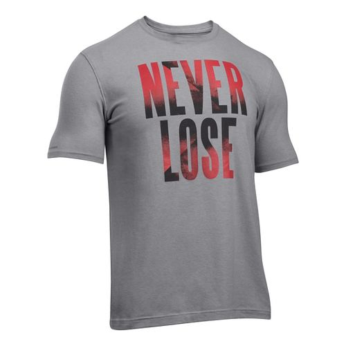 Mens Under Armour Never Lose T Short Sleeve Technical Tops - Grey Heather/Red L