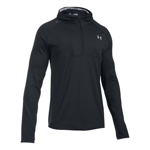 Mens Under Armour No Breaks Balaclava Hoodie & Sweatshirts Technical Tops - Black/Reflective XL