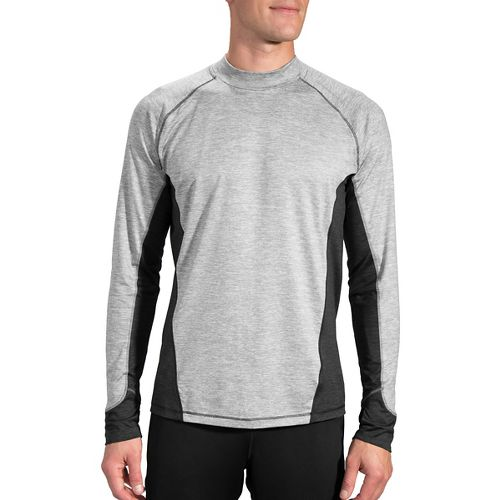 Mens Brooks Dash Long Sleeve Technical Tops - Heather Oxford XXL