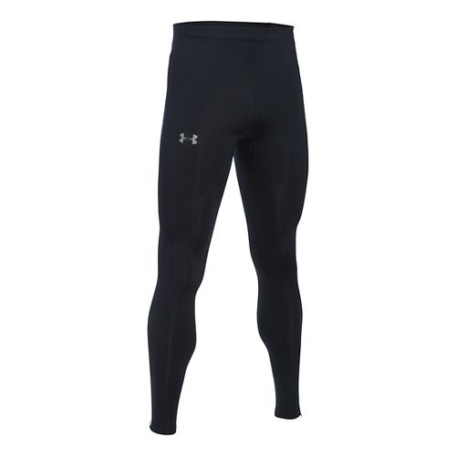 Mens Under Armour No Breaks HeatGear Tights & Leggings Pants - Black/Black L
