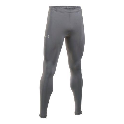 Mens Under Armour No Breaks HeatGear Tights & Leggings Pants - Graphite/Flash Light M