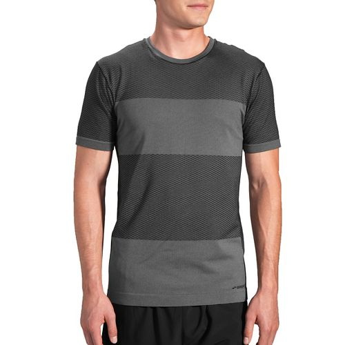 Mens Brooks Streaker Short Sleeve Technical Tops - Asphalt S