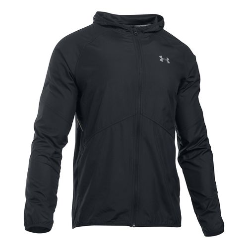 Mens Under Armour No Breaks Storm 1 Running Jackets - Black/Black S