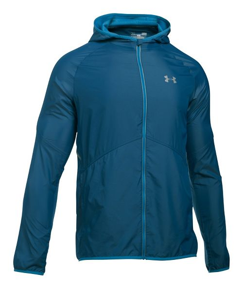 Mens Under Armour No Breaks Storm 1 Running Jackets - Blackout Navy/Blue L