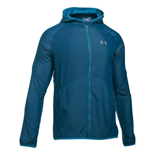Mens Under Armour No Breaks Storm 1 Running Jackets - Blackout Navy/Blue XXL