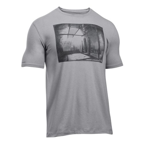 Mens Under Armour Photoreal Gym T Short Sleeve Technical Tops - True Grey Heather L ...