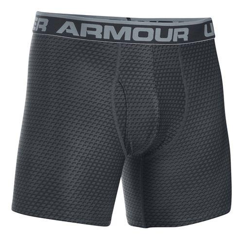 Mens Under Armour Original 6'' BoxerJock Print Boxer Brief Underwear Bottoms - Black/Steel XL