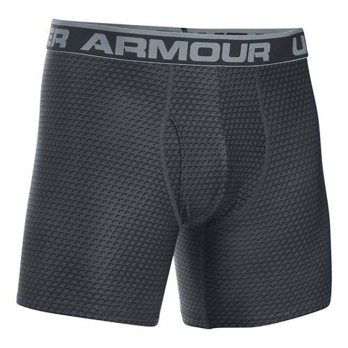 Mens Under Armour Original 6'' BoxerJock Print Boxer Brief Underwear Bottoms - Black/Steel L
