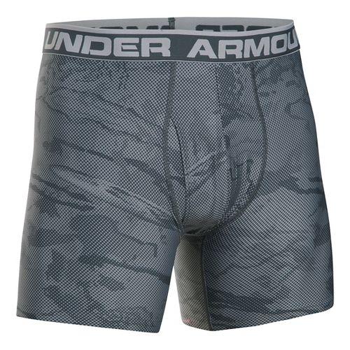 Mens Under Armour Original 6'' BoxerJock Print Boxer Brief Underwear Bottoms - Steel/Grey M