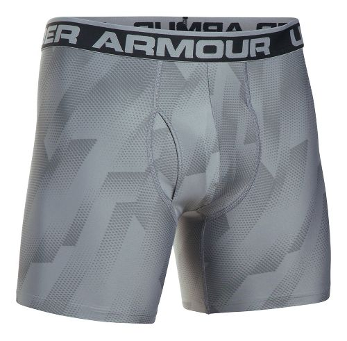 Mens Under Armour Original 6'' BoxerJock Print Boxer Brief Underwear Bottoms - Steel L