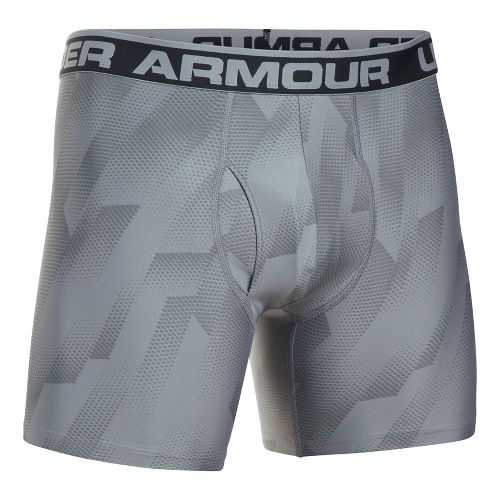 Mens Under Armour Original 6'' BoxerJock Print Boxer Brief Underwear Bottoms - Steel M