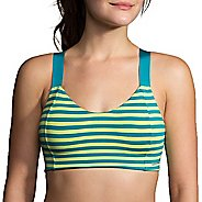 Womens Brooks Hot Shot Sports Bra - Tile/Aloe M