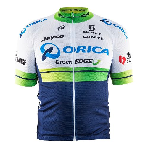 Mens Craft Orica GreenEDGE Replica Jersey Short Sleeve Technical Tops - White/Blue L