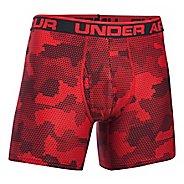 Mens Under Armour Original 6'' BoxerJock Print (Hanging) Boxer Brief Underwear Bottoms - Red L