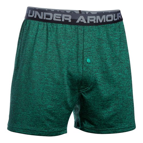 Mens Under Armour Original Twist Boxer Underwear Bottoms - Geode Green L